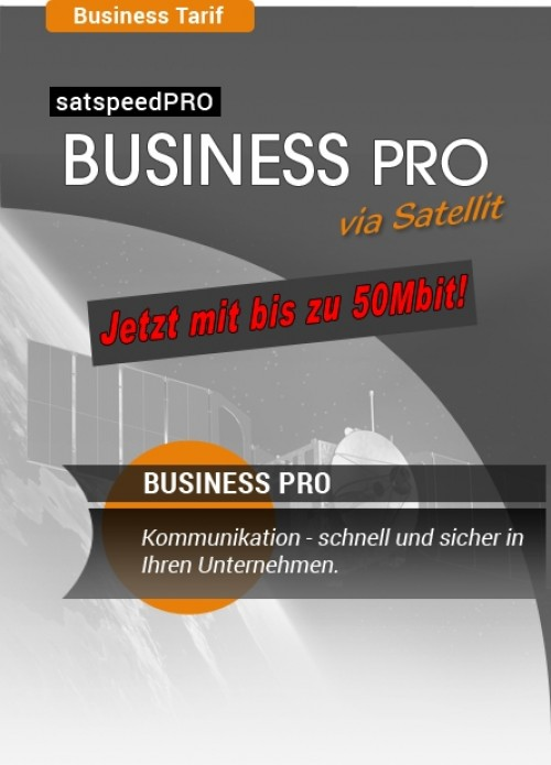 satspeedPRO Business PRO 50 Mbit download und 10 Mbit upload Internet via Satellit Tarif