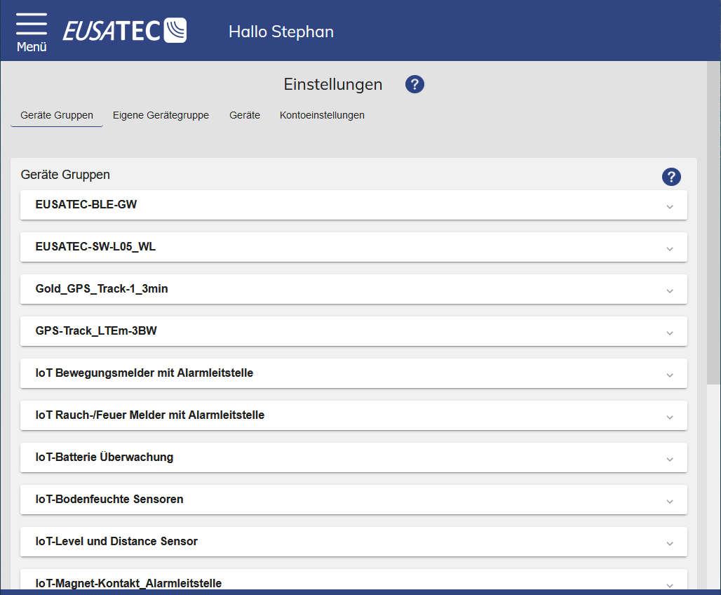 EUSATEC Konfiguration der Geräte und Gruppen